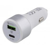 Car Charger DELTACO , USB-C, 36W, USB-C PD, QC 3.0, 12-18V DC, white USBC-CAR113