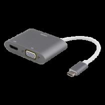 Адаптер DELTACO USB-C к HDMI и VGA, 4K UHD, алюминий, серебристый