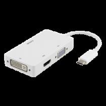 Адаптер DELTACO USB-C к HDMI / DVI / VGA, 4K, DP Alt Mode, белый