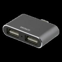 USB-C Hub DELTACO 2xUSB-A, gray / USBC-HUB5