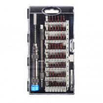 Professional chisel kit, 58 parts, extension rod, CRV bits DELTACOIMP black / VK-56