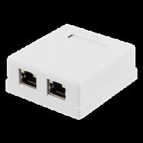 Shielded network socket, Surface UTP 2xRJ45, Cat6 DELTACO white/ VR-218