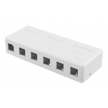 DELTACO Surface Mount for Keystone, 6 Ports, White / VR-225