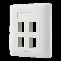 Flush mount for Keystone, 4 ports DELTACO white / VR-228