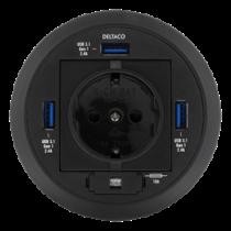 Разъем для подключения к сети и USB-концентратор, 80 мм, 3 порта USB-A, USB 3.1 DELTACO черный / VR-821